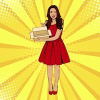 Mujer sorprendida atractiva joven que sostiene el rectángulo vacío. Ilustración del vector en estilo retro comic pop art. Plantilla de certificado de regalo.