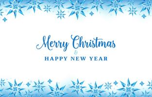 Kerstmisachtergrond met de blauwe kleur van kristalsneeuwvlokken