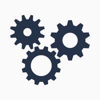 Símbolo de engrenagens em fundo branco, ícone de configurações, ilustração