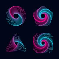Gradient line spiral designs elements vector
