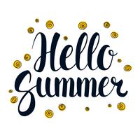 Hello Summer, Calligraphy season banner design, illustration