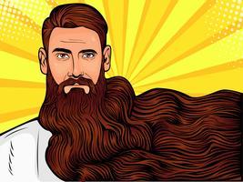 Vetorial, arte pop, ilustração, de, um, brutal, homem barbudo, macho, com, muito, longo, barba, sobre, tudo, imagem