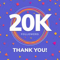 20k followers, social sites post, greeting card