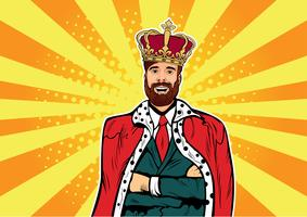 Hipster Business king businessman with beard and crown