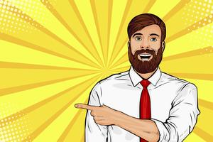 Bearded hipster man with shocked facial expression pop art vector