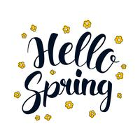 Hello Spring, Calligraphy season banner design, illustration