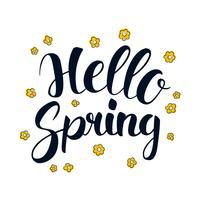 Olá Primavera, caligrafia temporada banner design, ilustração