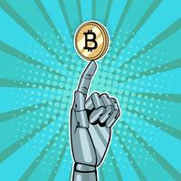 Robotachtige hand die goud houdt Robotic hand die gouden bitcoin houdt. Vectorillustratie in pop-art retro grappige styleen bitcoin. Vectorillustratie in pop-art retro komische stijl