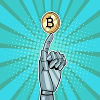 Robotic hand holding goldRobotic hand holding golden bitcoin. Vector illustration in pop art retro comic styleen bitcoin. Vector illustration in pop art retro comic style