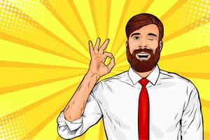 Hipster bearded businessman in glasses winks and shows okay or OK gesture. Pop art retro vector illustration. Success concept. Invitation poster.