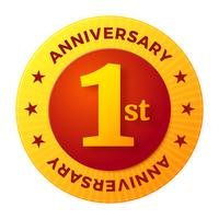 First Anniversary badge, gold celebration label vector