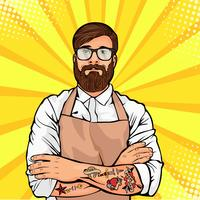 Bearded man in glasses with tattoo on arms vector illustration in comic pop art style. Hipster artisan or worker in apron