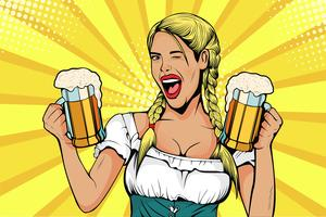 Germany Girl waitress carries beer glasses. Oktoberfest celebration. Vector illustration in pop art retro comic style