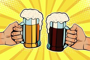 Hands with mugs of beer. Oktoberfest celebration. Vector illustration in pop art retro comic style