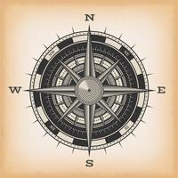 Wind Rose Compass On Vintage Background