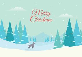 Winter Forest Landscape with Lettering of Merry Christmas