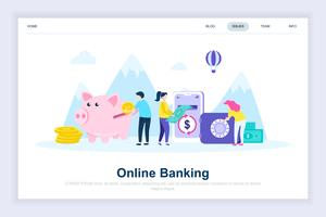 Conceito de design plano moderno de banca on-line