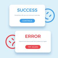 Success and Error message, vector illustration