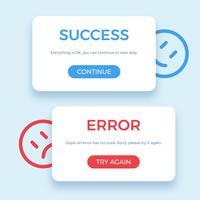 Sucesso e mensagem de erro, ilustração vetorial
