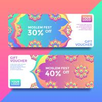 Moslem Fest Gift Card Voucher Templates Vector
