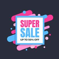 Super sale banner, colorful and playful design