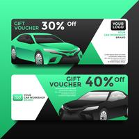 Car Workshop Gift Card Voucher Templates Vector