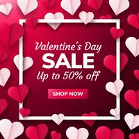 Fondo del día de San Valentín con corazones de origami de papel divididos en la mitad.
