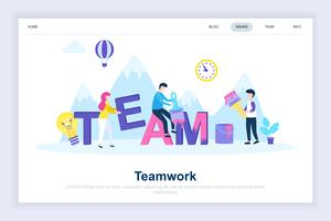 Conceito de design plano moderno de trabalho em equipe
