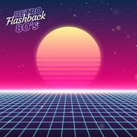 Synthwave Retro- Design, Sonne und Gitter, Illustration