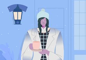 Modern Winter Outfit Woman Outdoor vector Illustration