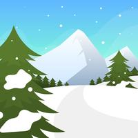 Flat Winter Forest Vector Illustration