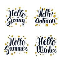 Hello Spring, Summer, Autumn and Winter. Calligraphy season banner design