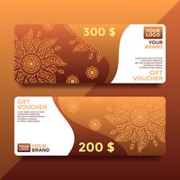 Brown Batik Gift Card Voucher Templates Vector