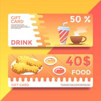Vetor de modelos de vale-presente de comida e bebida