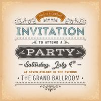 Vintage Invitation To A Party Card
