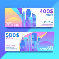 City Tour Gift Card Voucher Templates Vector
