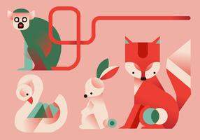Cute Geometric Simple Animals Vector Flat