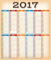 Vintage Design Calendar For Year 2017