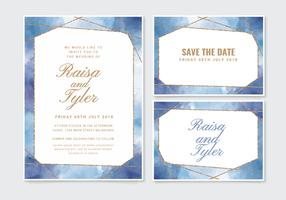 Vector Geometric Watercolor Wedding Invitation