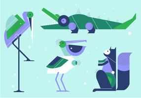 Illustration vectorielle plate géométrique animaux SimpleShape