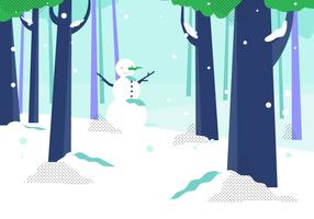 Winter Forest With Snow Man Background Vector Illustrtion