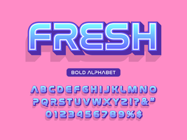 Fuente moderna en negrita 3D y alfabeto