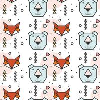 Geometric Shape Animals Pattern vector