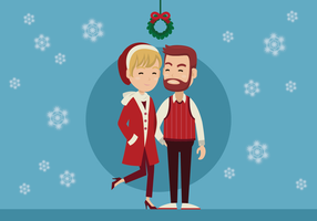 Couple Standing Under Mistletoe  vector