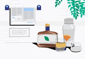 Bourbon Wishky On Table Vector Ilustration