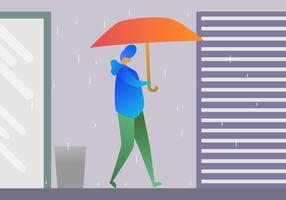 Awesome Boy Holding Umbrella Vectors