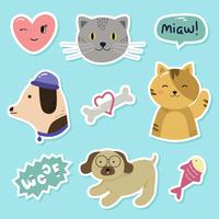 Cat and Dog Sticker Vector