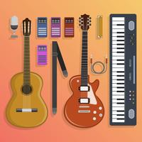 Flaches Musikinstrument, das Vektor-Illustration knolling ist