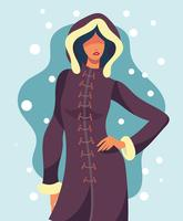 Model Portrait In Winter Outdoors Illustration