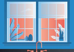 Kitchen Window View Vector Design